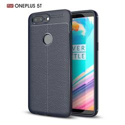 Luxury Auto Focus Litchi Texture Silicone TPU Back Cover for OnePlus 5T - Dark Blue