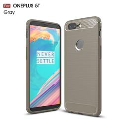 Luxury Carbon Fiber Brushed Wire Drawing Silicone TPU Back Cover for OnePlus 5T - Gray