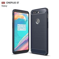 Luxury Carbon Fiber Brushed Wire Drawing Silicone TPU Back Cover for OnePlus 5T - Navy