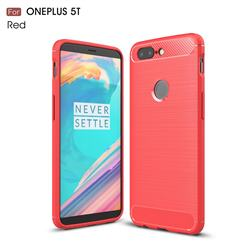Luxury Carbon Fiber Brushed Wire Drawing Silicone TPU Back Cover for OnePlus 5T - Red