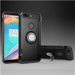 Armor Anti Drop Carbon PC + Silicon Invisible Ring Holder Phone Case for OnePlus 5T - Black