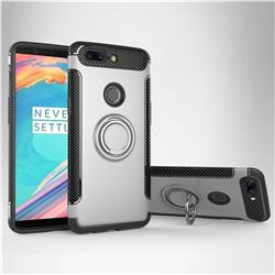 Armor Anti Drop Carbon PC + Silicon Invisible Ring Holder Phone Case for OnePlus 5T - Silver