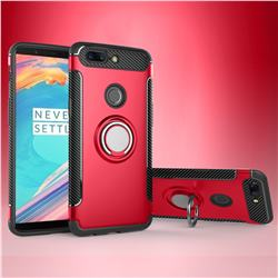Armor Anti Drop Carbon PC + Silicon Invisible Ring Holder Phone Case for OnePlus 5T - Red