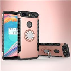 Armor Anti Drop Carbon PC + Silicon Invisible Ring Holder Phone Case for OnePlus 5T - Rose Gold