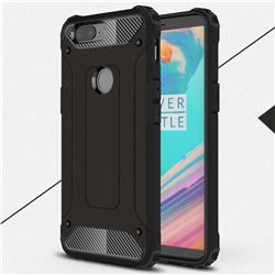 King Kong Armor Premium Shockproof Dual Layer Rugged Hard Cover for OnePlus 5T - Black Gold