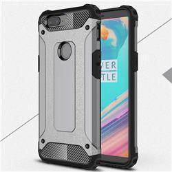 King Kong Armor Premium Shockproof Dual Layer Rugged Hard Cover for OnePlus 5T - Silver Grey