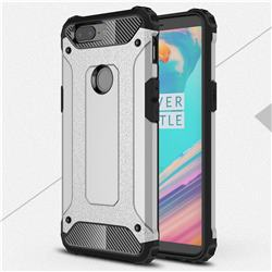King Kong Armor Premium Shockproof Dual Layer Rugged Hard Cover for OnePlus 5T - Technology Silver
