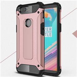 King Kong Armor Premium Shockproof Dual Layer Rugged Hard Cover for OnePlus 5T - Rose Gold