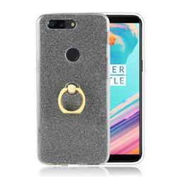 Luxury Soft TPU Glitter Back Ring Cover with 360 Rotate Finger Holder Buckle for OnePlus 5T - Black