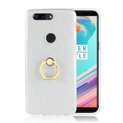 Luxury Soft TPU Glitter Back Ring Cover with 360 Rotate Finger Holder Buckle for OnePlus 5T - White
