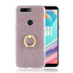 Luxury Soft TPU Glitter Back Ring Cover with 360 Rotate Finger Holder Buckle for OnePlus 5T - Pink