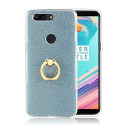 Luxury Soft TPU Glitter Back Ring Cover with 360 Rotate Finger Holder Buckle for OnePlus 5T - Blue