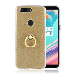Luxury Soft TPU Glitter Back Ring Cover with 360 Rotate Finger Holder Buckle for OnePlus 5T - Golden