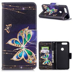 Golden Shining Butterfly Leather Wallet Case for OnePlus 5T