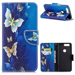 Golden Butterflies Leather Wallet Case for OnePlus 5T