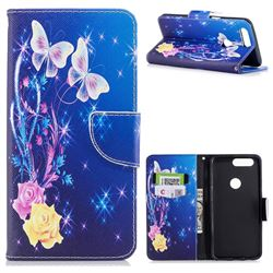 Yellow Flower Butterfly Leather Wallet Case for OnePlus 5T