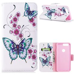 Peach Butterflies Leather Wallet Case for OnePlus 5T