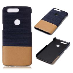 Canvas Cloth Coated Plastic Back Cover for OnePlus 5T - Dark Blue