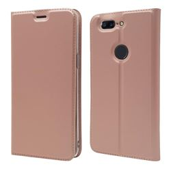 Ultra Slim Card Magnetic Automatic Suction Leather Wallet Case for OnePlus 5T - Rose Gold