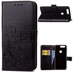 Embossing Imprint Four-Leaf Clover Leather Wallet Case for OnePlus 5T - Black