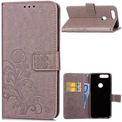 Embossing Imprint Four-Leaf Clover Leather Wallet Case for OnePlus 5T - Grey