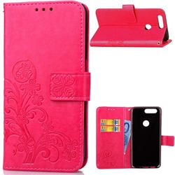 Embossing Imprint Four-Leaf Clover Leather Wallet Case for OnePlus 5T - Rose