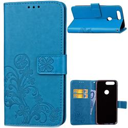 Embossing Imprint Four-Leaf Clover Leather Wallet Case for OnePlus 5T - Blue