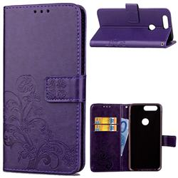 Embossing Imprint Four-Leaf Clover Leather Wallet Case for OnePlus 5T - Purple