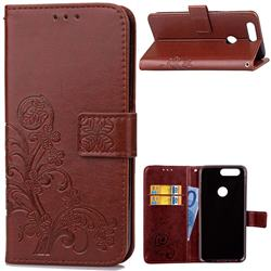 Embossing Imprint Four-Leaf Clover Leather Wallet Case for OnePlus 5T - Brown