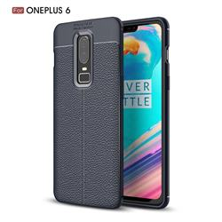 Luxury Auto Focus Litchi Texture Silicone TPU Back Cover for OnePlus 6 - Dark Blue