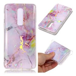 Pink Purple Marble Pattern Bright Color Laser Soft TPU Case for OnePlus 6
