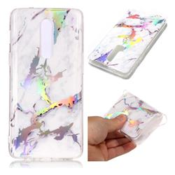 White Marble Pattern Bright Color Laser Soft TPU Case for OnePlus 6