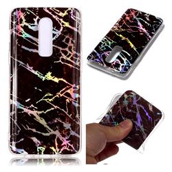 Black Brown Marble Pattern Bright Color Laser Soft TPU Case for OnePlus 6