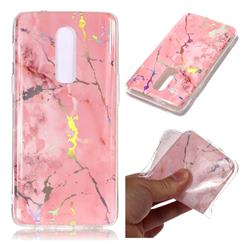 Powder Pink Marble Pattern Bright Color Laser Soft TPU Case for OnePlus 6