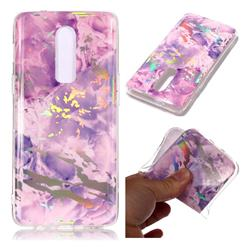 Purple Marble Pattern Bright Color Laser Soft TPU Case for OnePlus 6