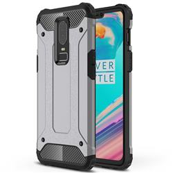 King Kong Armor Premium Shockproof Dual Layer Rugged Hard Cover for OnePlus 6 - Silver Grey