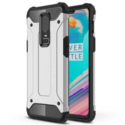 King Kong Armor Premium Shockproof Dual Layer Rugged Hard Cover for OnePlus 6 - Technology Silver