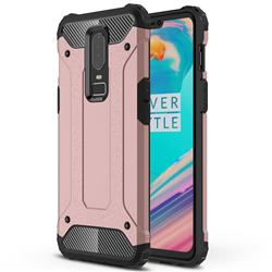 King Kong Armor Premium Shockproof Dual Layer Rugged Hard Cover for OnePlus 6 - Rose Gold