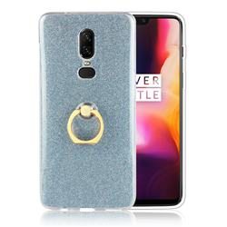 Luxury Soft TPU Glitter Back Ring Cover with 360 Rotate Finger Holder Buckle for OnePlus 6 - Blue