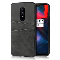 Simple Calf Card Slots Mobile Phone Back Cover for OnePlus 6 - Black