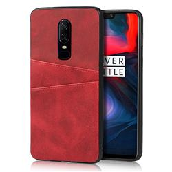 Simple Calf Card Slots Mobile Phone Back Cover for OnePlus 6 - Red