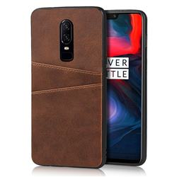 Simple Calf Card Slots Mobile Phone Back Cover for OnePlus 6 - Coffee