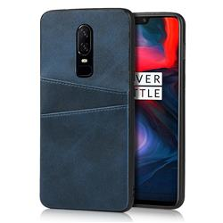 Simple Calf Card Slots Mobile Phone Back Cover for OnePlus 6 - Blue