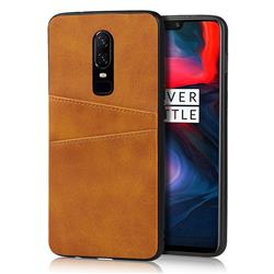 Simple Calf Card Slots Mobile Phone Back Cover for OnePlus 6 - Yellow