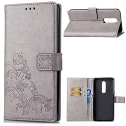 Embossing Imprint Four-Leaf Clover Leather Wallet Case for OnePlus 6 - Grey