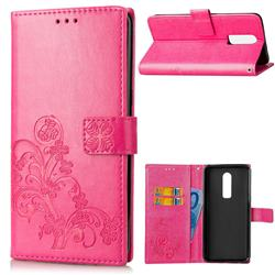 Embossing Imprint Four-Leaf Clover Leather Wallet Case for OnePlus 6 - Rose