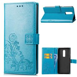 Embossing Imprint Four-Leaf Clover Leather Wallet Case for OnePlus 6 - Blue