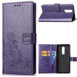 Embossing Imprint Four-Leaf Clover Leather Wallet Case for OnePlus 6 - Purple