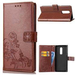 Embossing Imprint Four-Leaf Clover Leather Wallet Case for OnePlus 6 - Brown