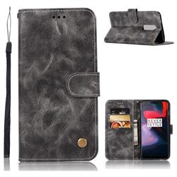 Luxury Retro Leather Wallet Case for OnePlus 6 - Gray